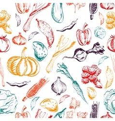 Hand drawn vegetables seamless pattern on a vector