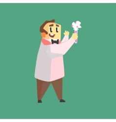 Funny Scientist In Lab Coat Doing Chemical vector image