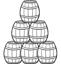 Heap of barrels cartoon vector