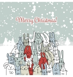Christmas card with happy rabbit family vector image
