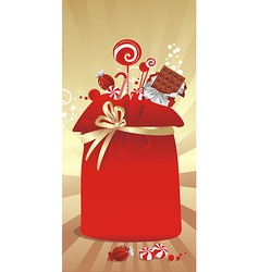 Gift sack with candy vector