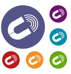 horseshoe magnet icons set vector image