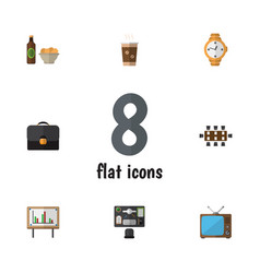 Flat icon lifestyle set of bureau cappuccino vector