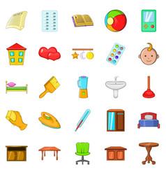 Apartment icons set cartoon style vector