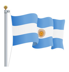waving argentina flag isolated on a white vector image