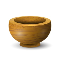 Wooden bowl on a white background vector