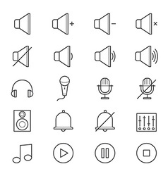 Music and media icons line vector