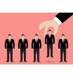 Hand choosing worker from group of businessmen vector