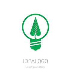 Plant growing inside the light bulb green eco vector