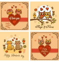 Valentines greeting cards set vector