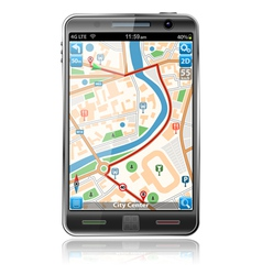 Smart phones with gps navigation vector