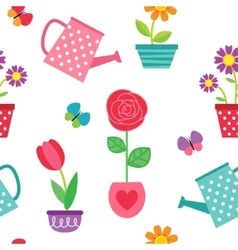 Pattern of flowers in pots and watering cans vector