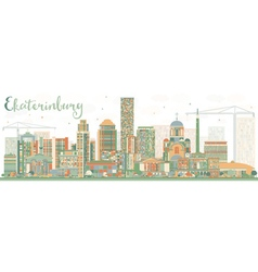 Abstract Ekaterinburg Skyline with Color Buildings vector image