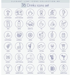 Alcohol Tea and coffee drinks outline icon vector image vector image