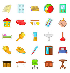 Apartment icons set cartoon style vector