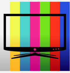 applique tv set on test image background vector image vector image