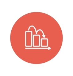 Business graph down thin line icon vector
