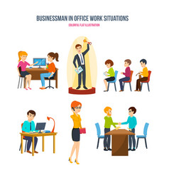 Businessman in office work situations concept vector