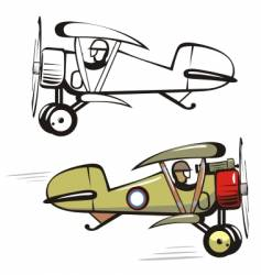 cartoon biplane vector image vector image