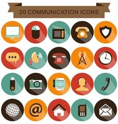 Communication icons shadow vector