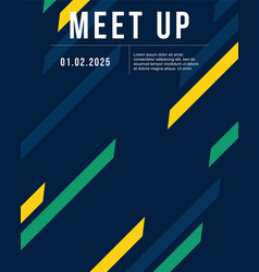 Cool colorful background style meet up card vector