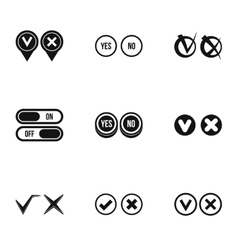 Cross and tick icons set simple style vector