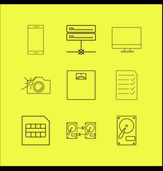 devices linear icon set simple outline icons vector image