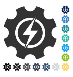 Electric power cog gear icon vector