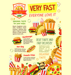 Fast food restaurant and pizzeria poster template vector