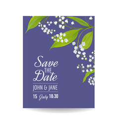Floral wedding invitation template lily flowers vector