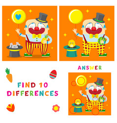 Funny clown of find ten differences vector
