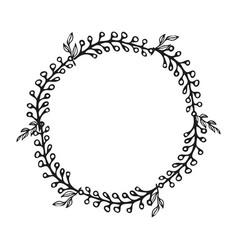 Hand drawn wreath floral design vector