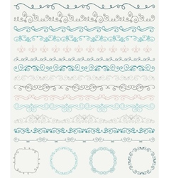 Hand Sketched Borders and Frames Dividers Swirls vector image vector image