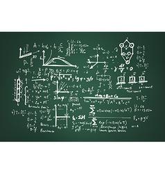 Mathematical formulas on a green school board vector