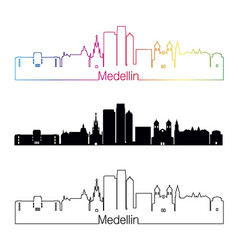 medellin skyline linear style with rainbow vector image vector image