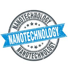 Nanotechnology round grunge ribbon stamp vector