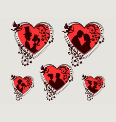 Red heart with silhouettes of a boy and a girl set vector