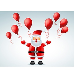 santa claus flying balloon vector image
