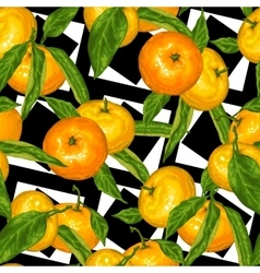 Seamless pattern with mandarins Tropical fruits vector image
