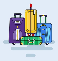 Set of bags with wheels vector