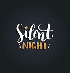 Silent night lettering design on black vector