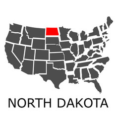 State of north dakota on map of usa vector
