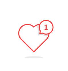 thin line heart like notification vector image