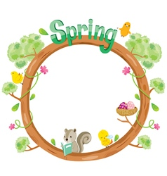 Tree with animal on circle frame vector