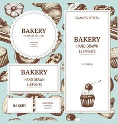 Vintage bakery sketch background vector