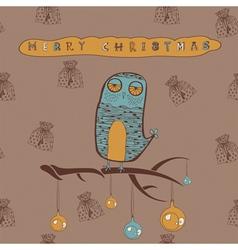 Vintage Christmas Owl Card vector image vector image