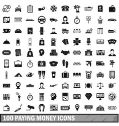 100 paying money icons set simple style vector