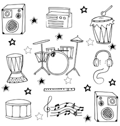 Doodle of musical instrument hand draw vector