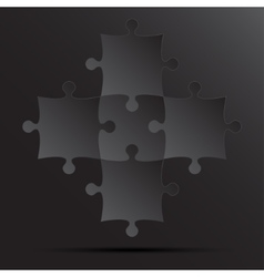 5 black puzzles pieces jigsaw vector