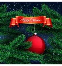 Red ball and Christmas tree vector image